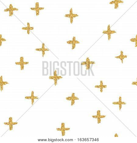 Vector seamless pattern with crosses, made of brush stroke and gold glitter.