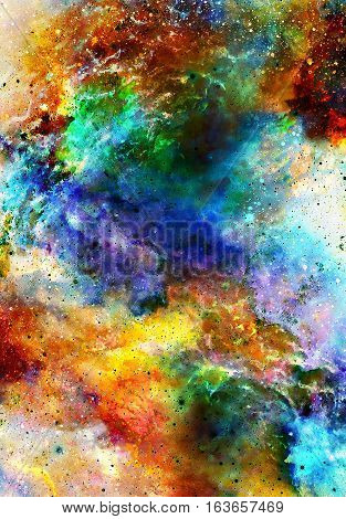 Nebula, Cosmic space and stars, color cosmic abstract background