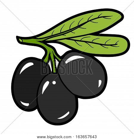 Color image with vector cartoon berry, Olives