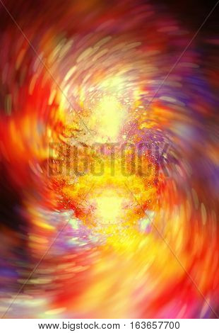 abstract background with cosmic energy swirling effect, colorful dynamic movement. . Fire effect in space