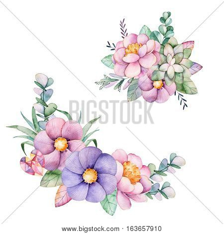 Beautiful floral collection with peony,flowers,leaves,succulent plant,branches,gemstones and more.
