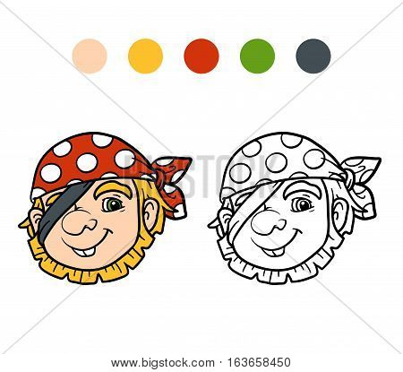 Coloring book for children, cartoon character, Pirate