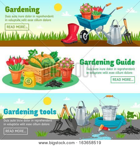 Gardening horizontal banners with guide information about measures for growing of agricultural products flat vector illustration