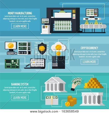Money manufacturing horizontal banners set with banking system symbols flat isolated vector illustration