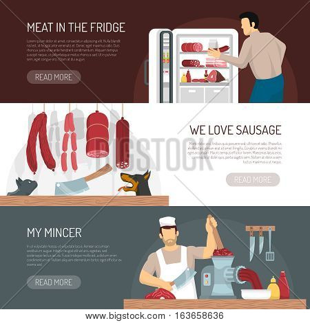 Butcher meat shop products service and keeping  information 3 flat horizontal banners webpage design isolated vector illustration