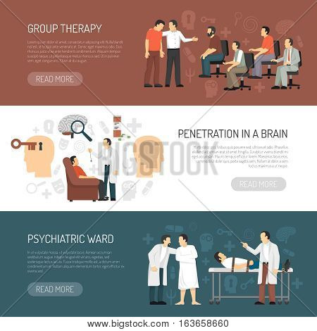Psychologist horizontal banners with session of group psychotherapy penetration in brain and psychiatric ward icons compositions flat vector illustration