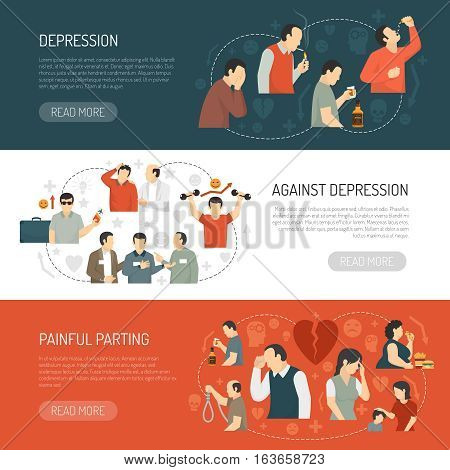 Depression horizontal banners with decorative icons describing causes of disease and its consequences  flat vector illustration