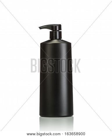 Blank Black Pump Plastic Bottle Used For Shampoo Or Soap. Studio Shot Isolated On White