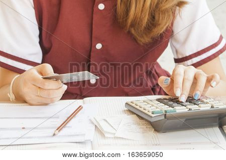 document and notebook monthly record expense credit card and checking account