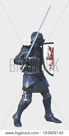 Illustration of a late Medieval knight in Italian Milanese style armour with sword and a shield painted with a red dragon, side view, digital illustration (3d rendering)
