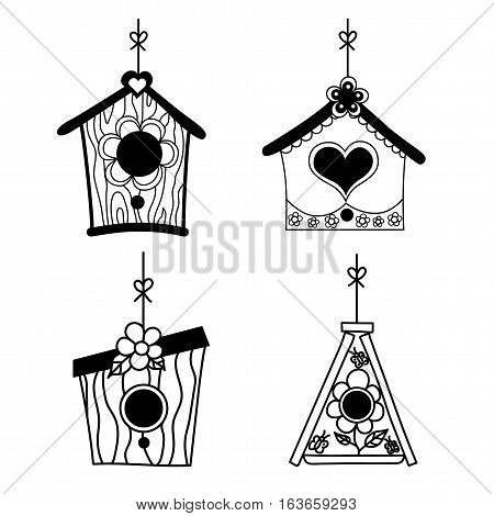 Set of bird's nesting boxes. Vector illustration