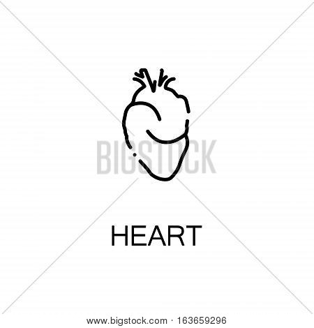 Heart flat icon. Single high quality outline symbol of human body for web design or mobile app. Thin line signs of heart for design logo, visit card, etc. Outline pictogram of heart