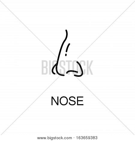 Nose flat icon. Single high quality outline symbol of human body for web design or mobile app. Thin line signs of nose for design logo, visit card, etc. Outline pictogram of nose