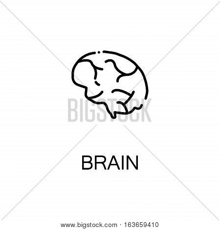Brain flat icon. Single high quality outline symbol of human body for web design or mobile app. Thin line signs of brain for design logo, visit card, etc. Outline pictogram of brain
