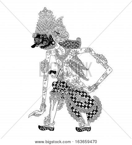 Batara Bayu, a character of traditional puppet show, wayang kulit from java indonesia.
