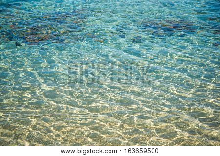 transparent water texture and rock underwater in sea