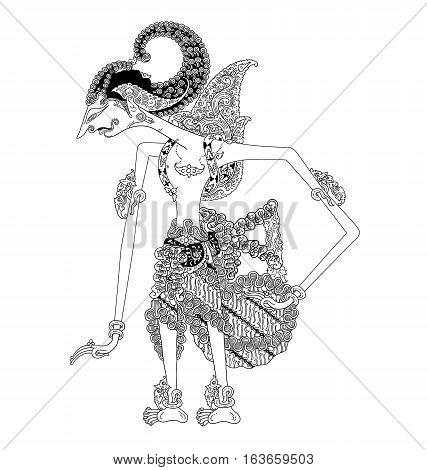 Batara Dewasrani, a character of traditional puppet show, wayang kulit from java indonesia.