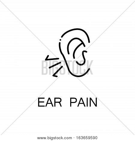 Ear pain flat icon. Single high quality outline symbol of illness and injury for web design or mobile app. Thin line signs of ear pain for design logo, visit card, etc. Outline pictogram of ear pain