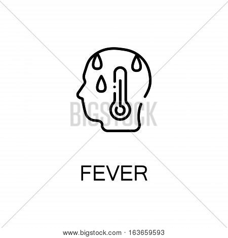 Fever flat icon. High quality outline symbol of illness and injury for web design or mobile app. Thin line sign of fever for design logo, visit card, etc. Outline pictogram of fever