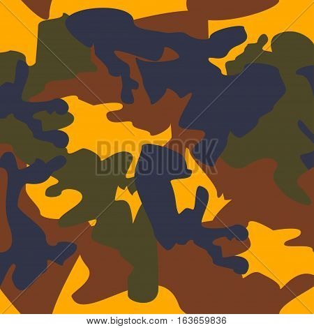 Camouflage pattern background seamless clothing print repeatable camo glamour vector. Yellow brown blue olive
