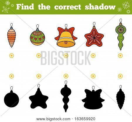 Find The Correct Shadow. Vector Set Of Christmas Tree Toys
