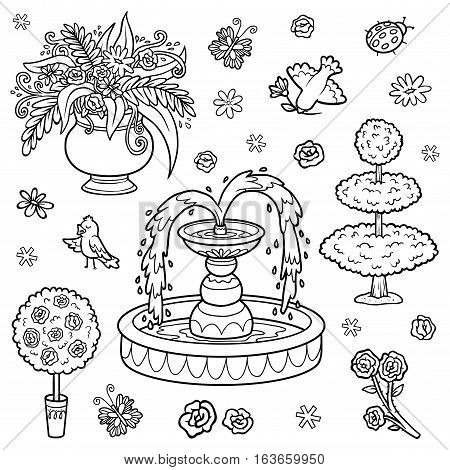 Black and white set of objects from the royal garden. Vector cartoon fountain flowers bushes for a princess