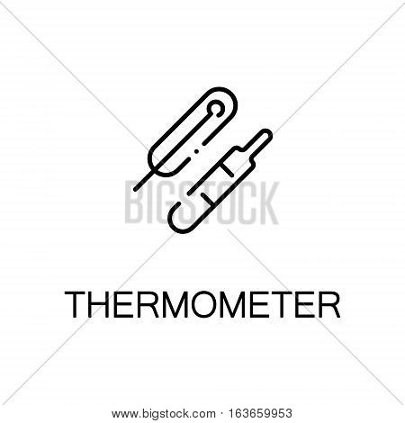 Thermometer flat icon. High quality outline symbol of medical euipment for web design or mobile app. Thin line signs of thermometer for design logo, visit card, etc. Outline pictogram of thermometer