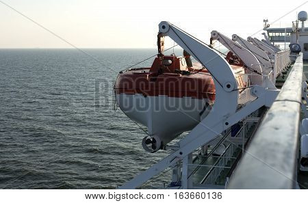 Part Of The Big Ferry, Saving Boat On The Ferry Boat