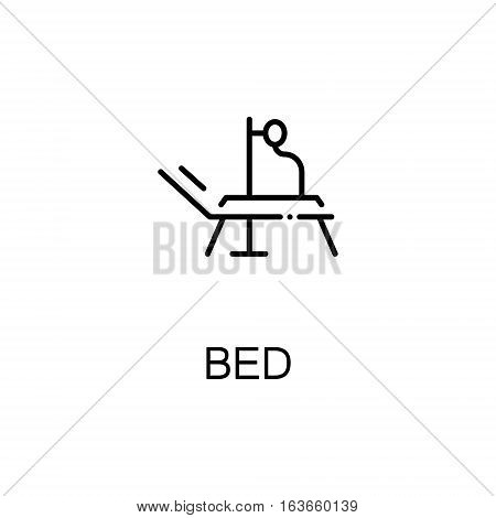 Bed flat icon. High quality outline symbol of medical euipment for web design or mobile app. Thin line signs of medical bed for design logo, visit card, etc. Outline pictogram of bed