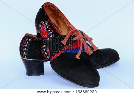 Historical shoes for period costumes from the region Hana (Czech Republic).