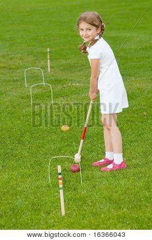 Croquet Player Making Score