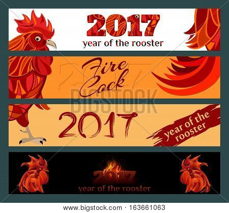 Horizontal Banners Set with 2017 Chinese New Year symbol fire cock. Red Rooster vector illustration.