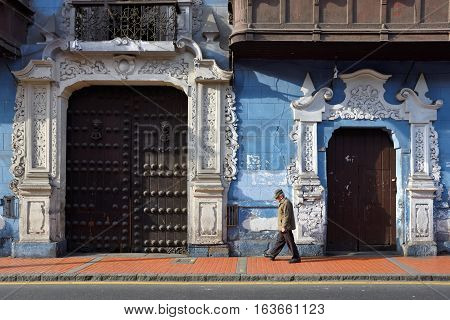 LIMA PERU - August 23 2016: View of a street in the old town of Lima city Peru on August 23 2016. Lima is capital city of Peru South America.