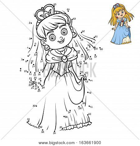 Numbers game, education dot to dot game for children, cartoon character Princess