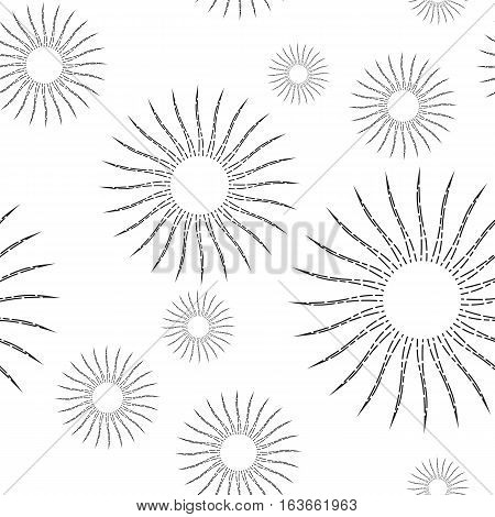 Sunshine rays seamless pattern in vintage style. Sunburst linear drawing texture. Continuous background with retro stylized symbols of sun. Sunlight outline vector illustration in EPS8 format.