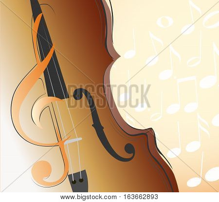 abstract violin g clef and musical notes. vector illustration