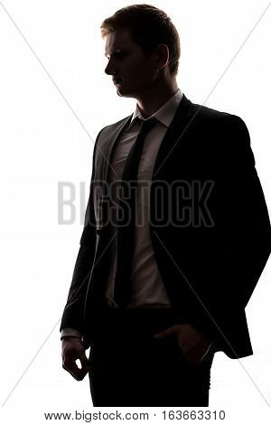 One Caucasian Business Man Handsome Full Suit Standing Full Length Serious Silhouette In Studio Isol