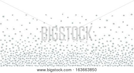 Abstract background of random falling silver dots on white. Hand drawn by markers confetti pattern. Suitable for textile, wrapping design, greeting cards etc. Vector eps8 illustration.