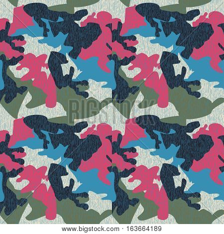 Camouflage pattern background seamless clothing print repeatable camo glamour grunge of scratch vector. Pink blue olive navy