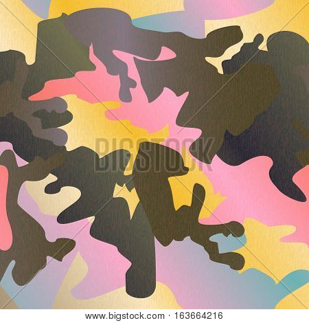 Camouflage pattern background clothing print repeatable camo glamour grunge of scratch vector. Pink yellow olive