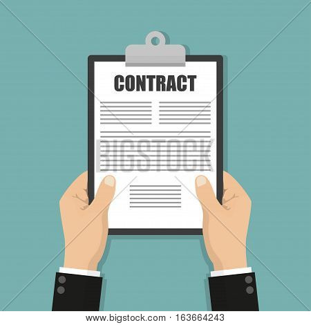 Hands holding clipboard with contract document in a flat design
