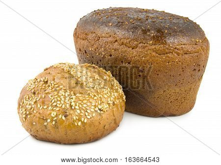 Sweet bread and brown bread isolated on white background