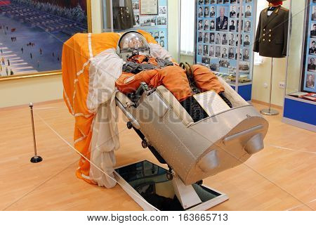 BAIKONUR - the world's first and largest cosmodrome, KAZAKHSTAN - APRIL, 2014: Vostok spacecraft ejection seat with mannequin in the Space Museum.