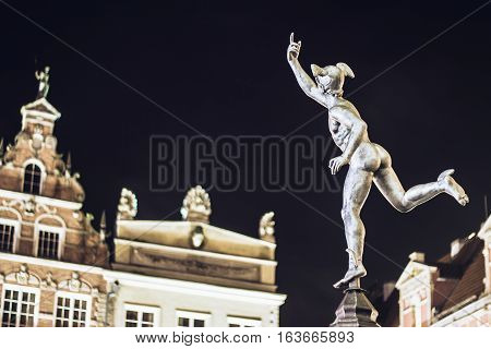 Gdansk, Poland - January 1, 2015: Statue Of Hermes In Old Town Of Gdansk By Night, Poland