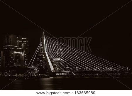 Night View On The Erasmus Bridge In Rotterdam, Netherlands
