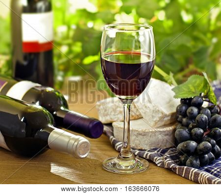 Red wine Brie Camembert and grape on the wood surface outdoor