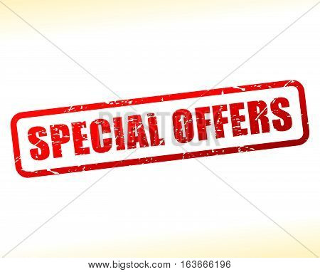 Illustration of special offers text buffered on white background