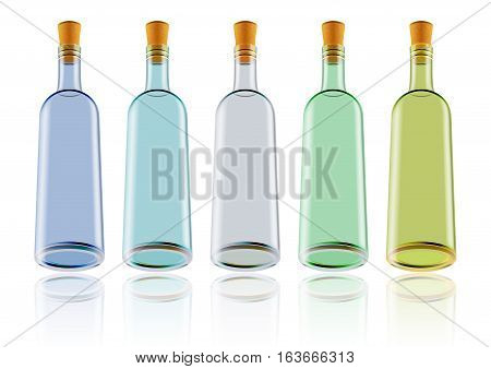 Illustration of wine bottles in various colors isolated