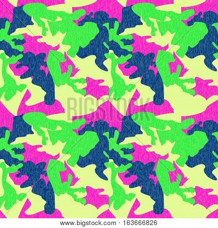 Camouflage pattern background seamless clothing print repeatable camo glamour grunge of scratch vector. Pink lime green navy