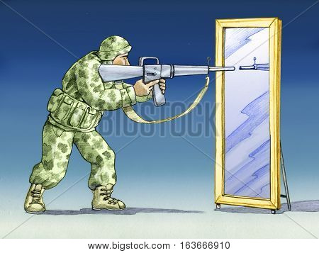 Soldier in front of a mirror ready to shoot symbolically the enemy is like us